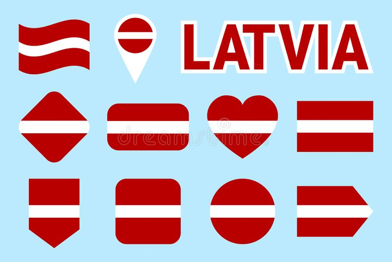 Colección de la bandera de Letonia Banderas letonas del vector fijadas Iconos aislados plano Colores tradicionales Web, páginas d stock de ilustración