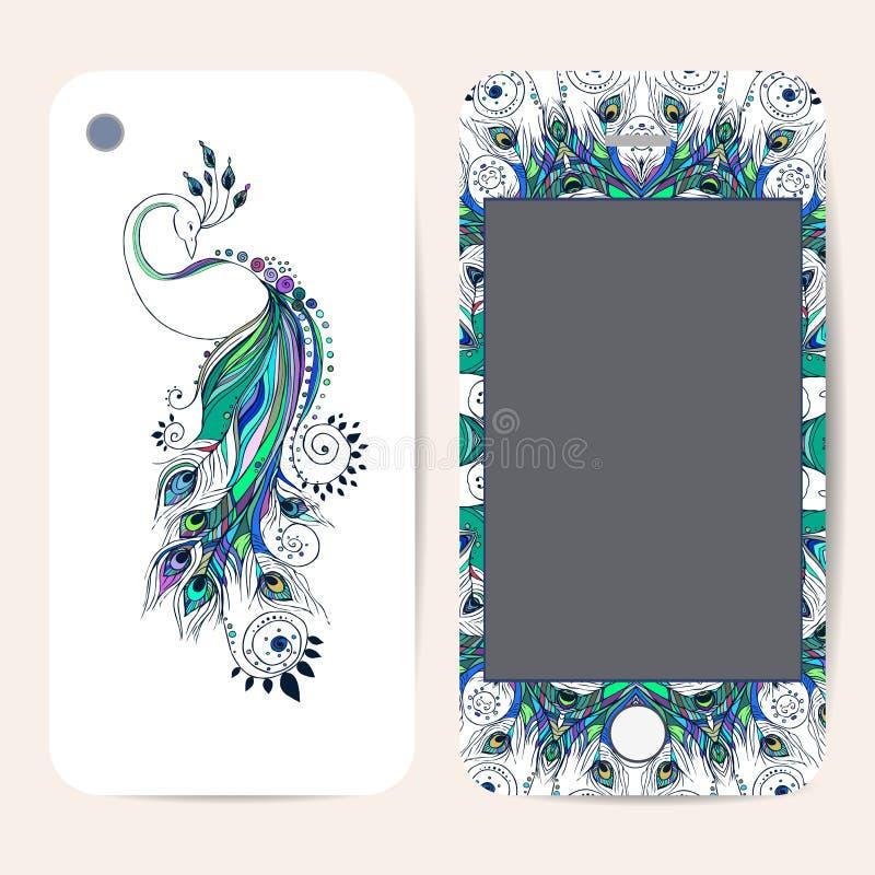 Colección de la caja del teléfono, estampado de flores delicado ilustración del vector