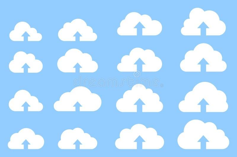 Colección de la carga por teletratamiento de la nube en fondo azul libre illustration