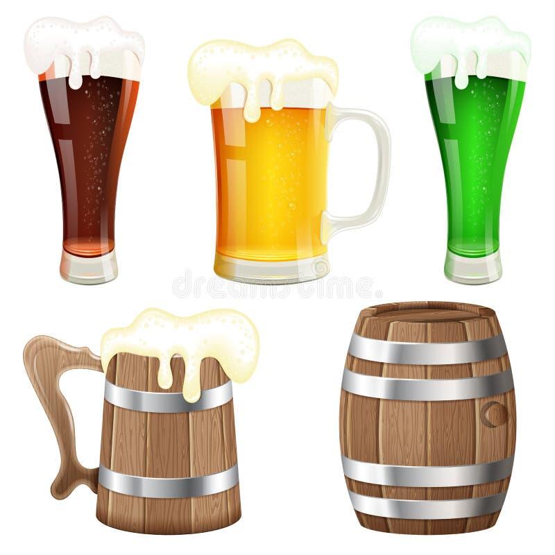 Colección de la cerveza stock de ilustración