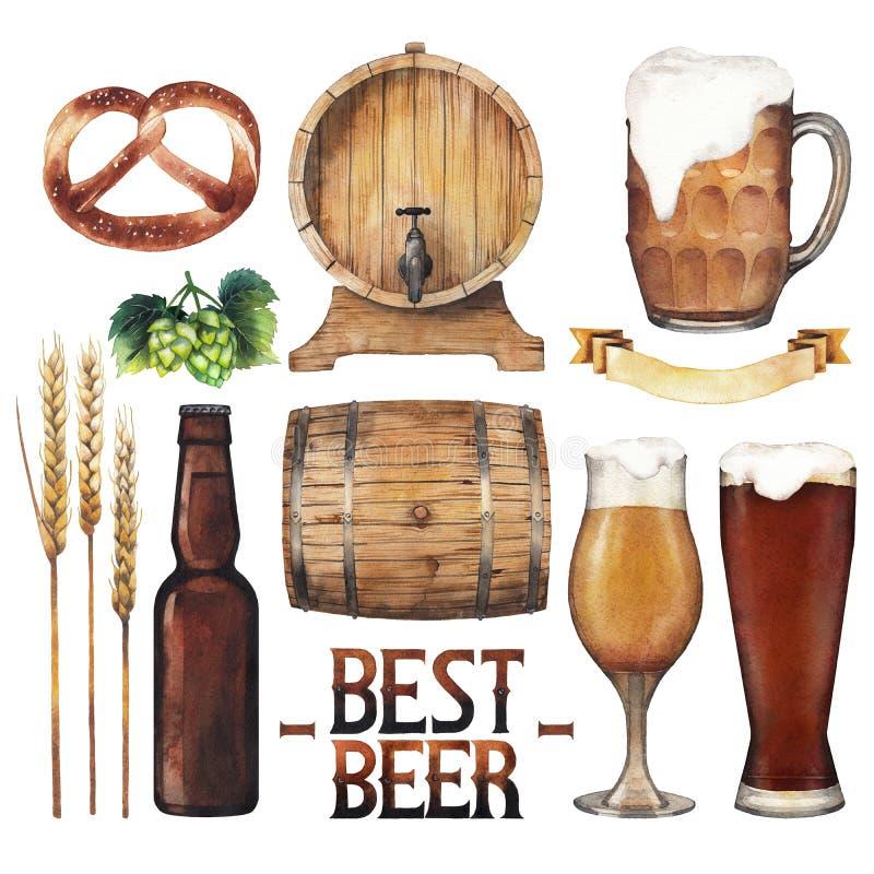 Colección de la cerveza de la acuarela stock de ilustración