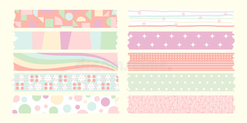 Colección de la cinta adhesiva del color en colores pastel stock de ilustración