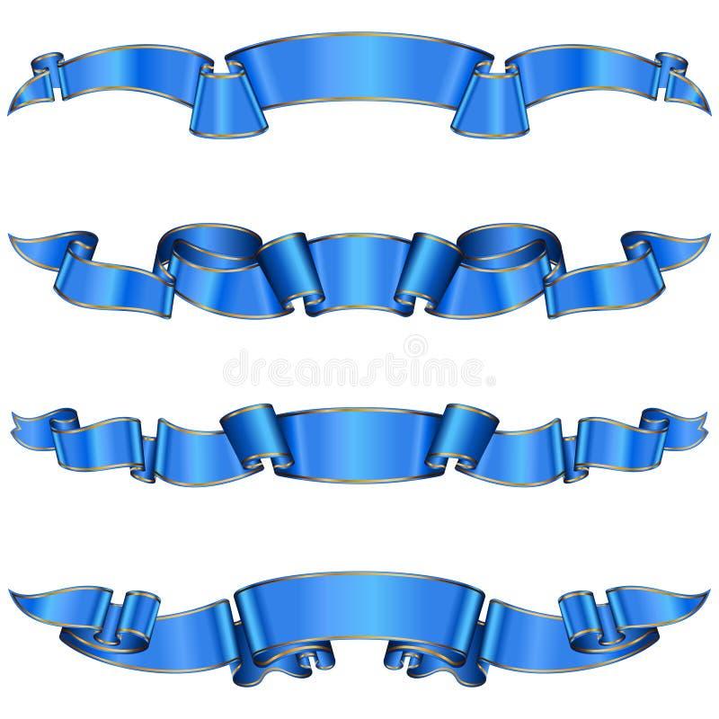 Colección de la cinta azul ilustración del vector