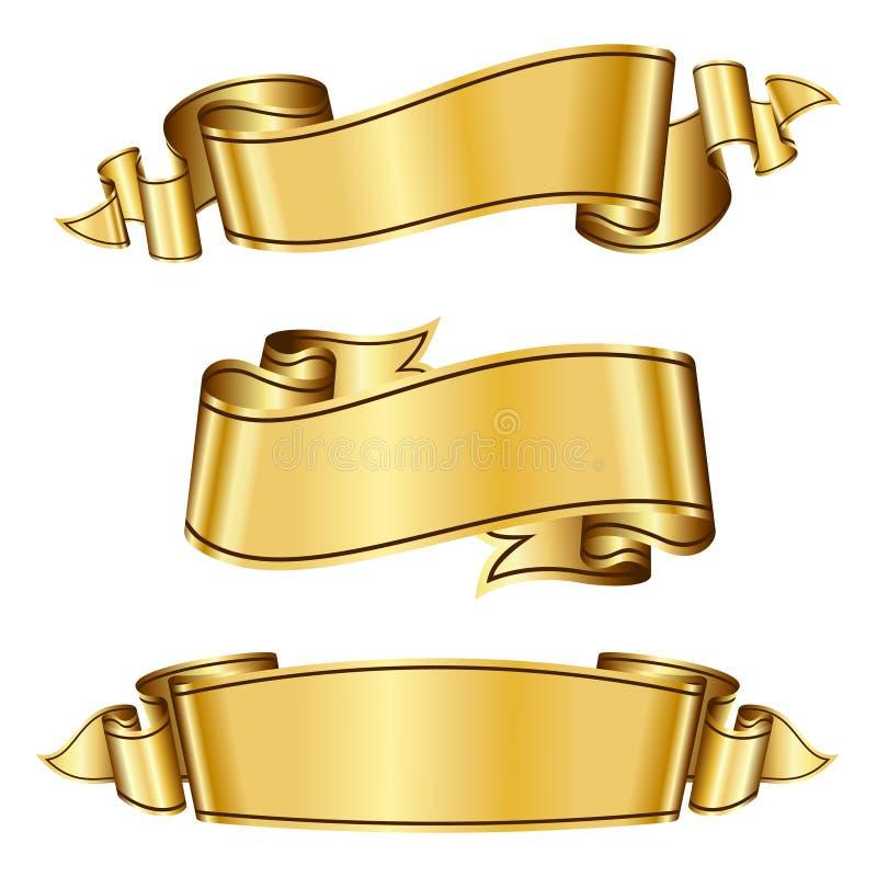 Colección de la cinta del oro ilustración del vector
