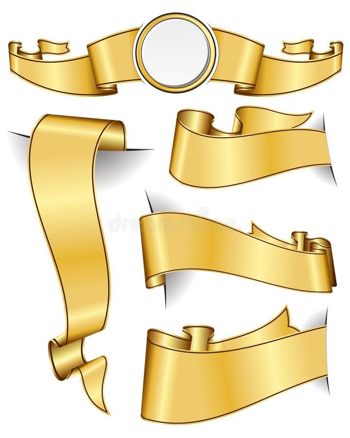 Colección de la cinta del oro stock de ilustración