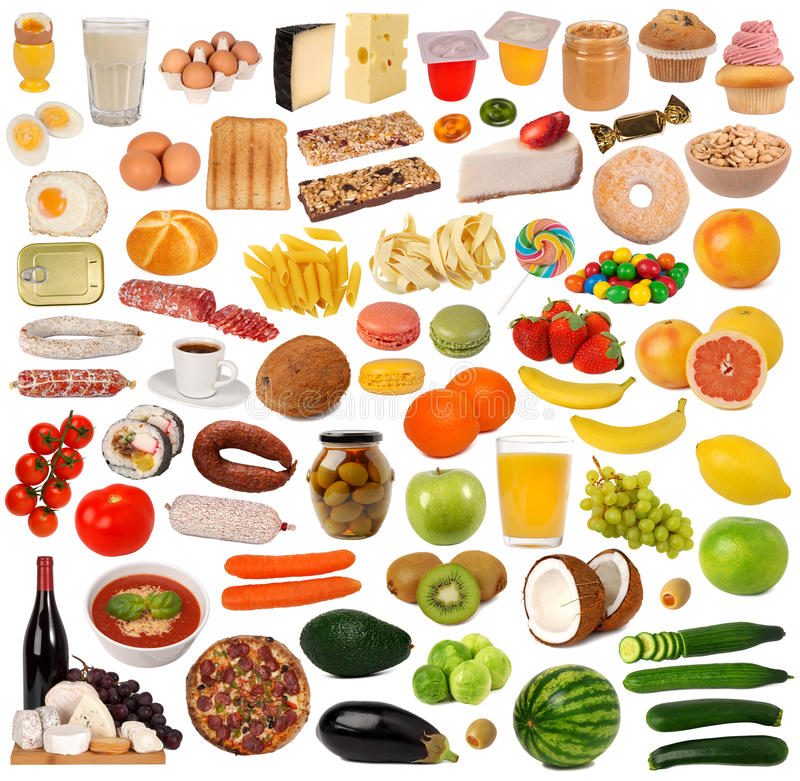 Colección de la comida fotos de archivo