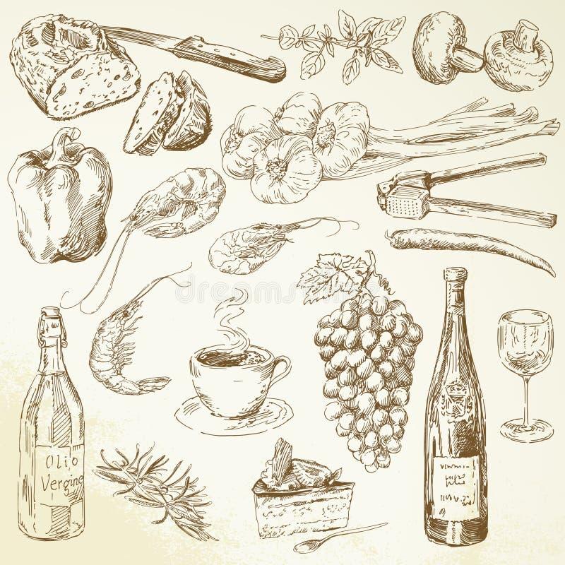 Colección de la comida - dibujo ilustración del vector