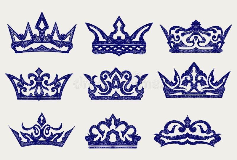 Colección de la corona. Estilo del Doodle ilustración del vector