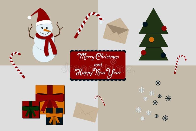 Colección de la decoración de la Navidad de diseño caligráfico stock de ilustración