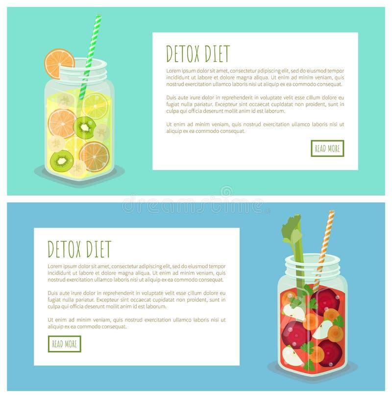 Colección de la dieta del Detox de ejemplo del vector de las páginas stock de ilustración