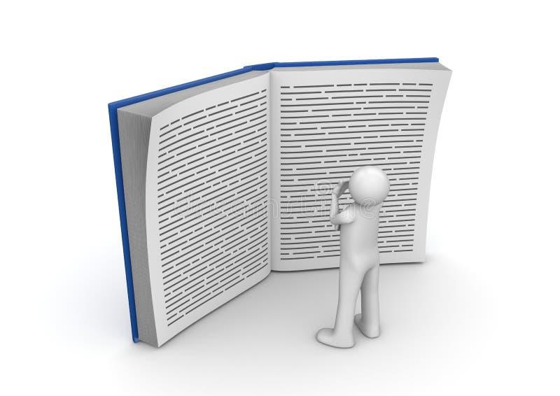 Colección de la educación - hombre que lee el libro enorme ilustración del vector