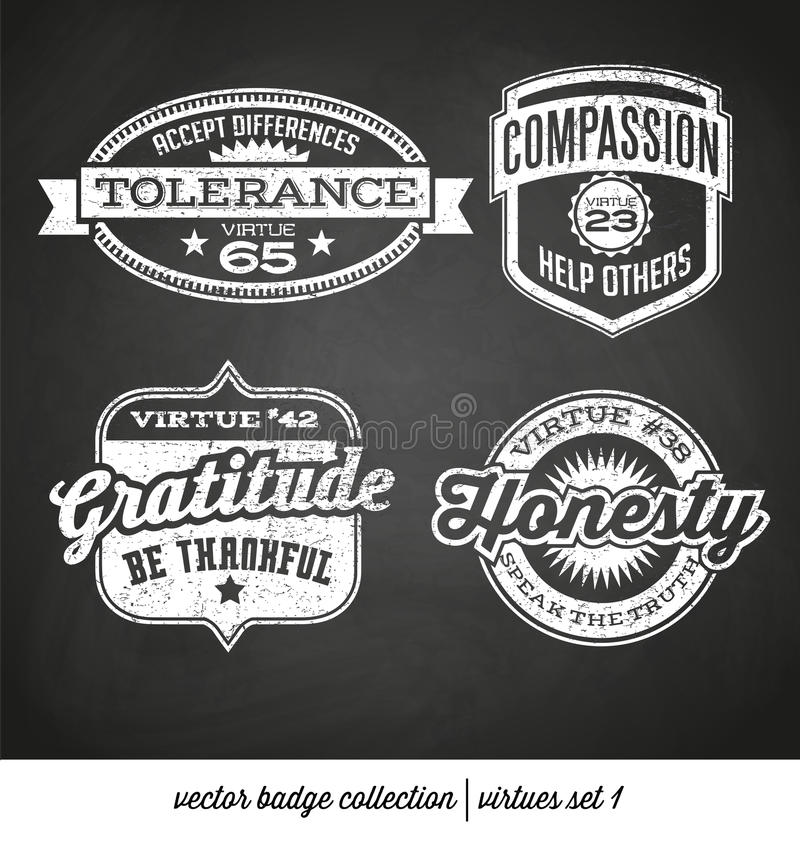 Colección de la etiqueta de la insignia con virtudes libre illustration