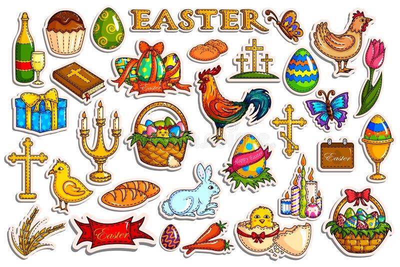 Colección de la etiqueta engomada para el objeto de la celebración del día de fiesta de Pascua stock de ilustración