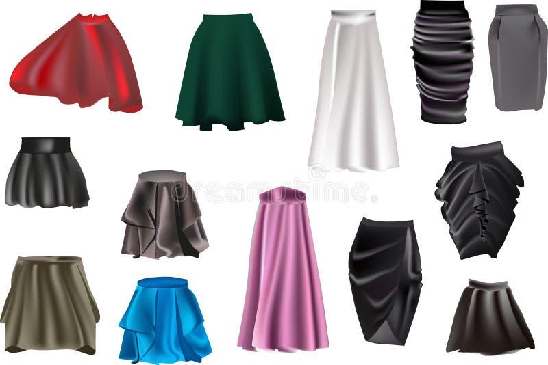 Colección de la falda aislada en blanco stock de ilustración
