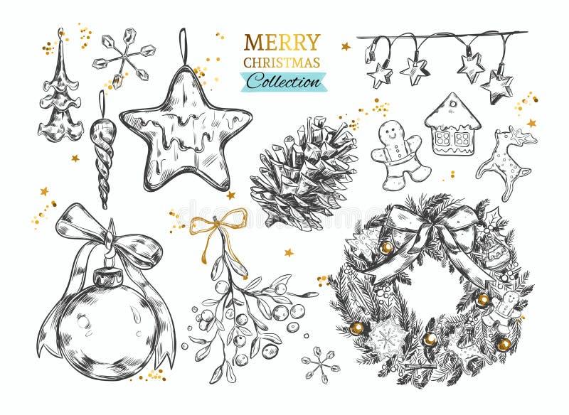 Colección de la Feliz Navidad con los ejemplos dibujados mano Vector ilustración del vector