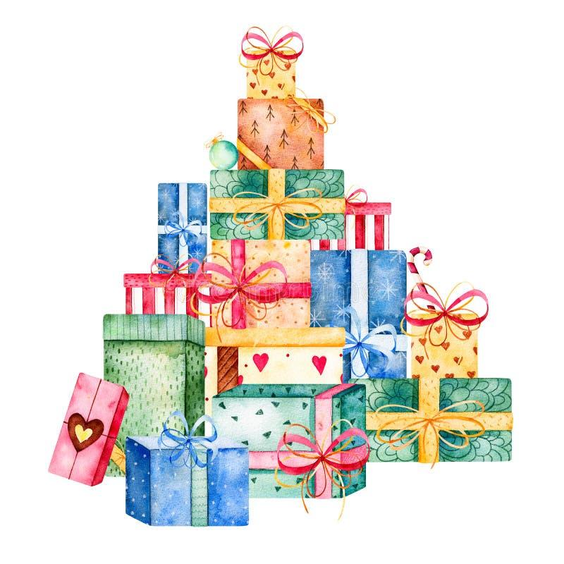 Colección de la Feliz Navidad y del Año Nuevo stock de ilustración