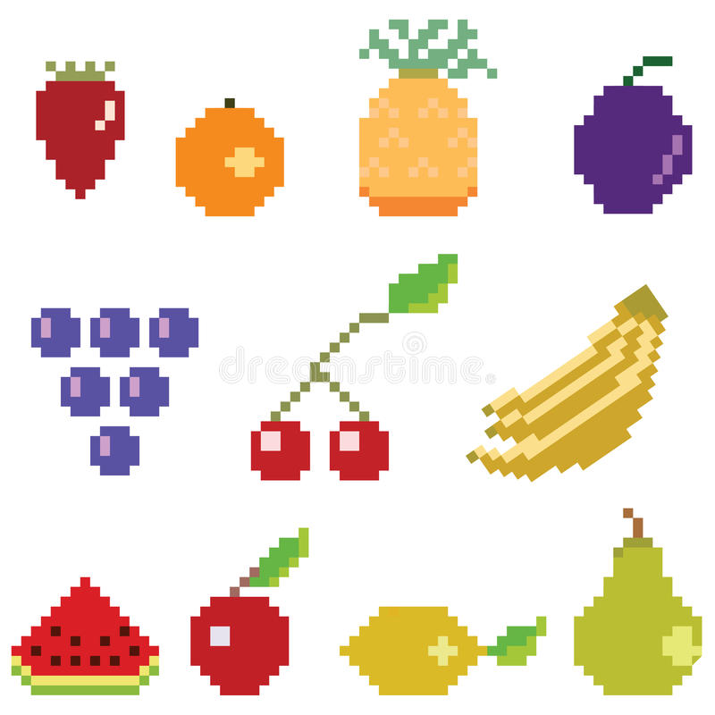 Colección de la fruta del arte del pixel stock de ilustración