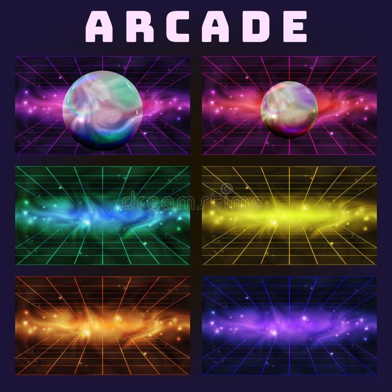 Colección de la galaxia en Arcade Background Set Vector libre illustration