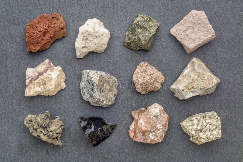 Colección de la geología de la roca ígnea fotos de archivo libres de regalías
