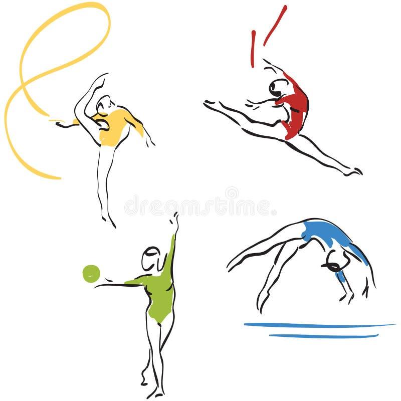 Colecci n de la gimnasia mujeres ilustraci n del vector for Gimnasia concepto