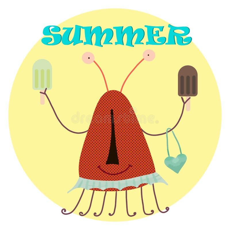 Colección de la historieta con el verano del helado del monstruo para el diseño de la impresión Verano del helado del monstruo en libre illustration