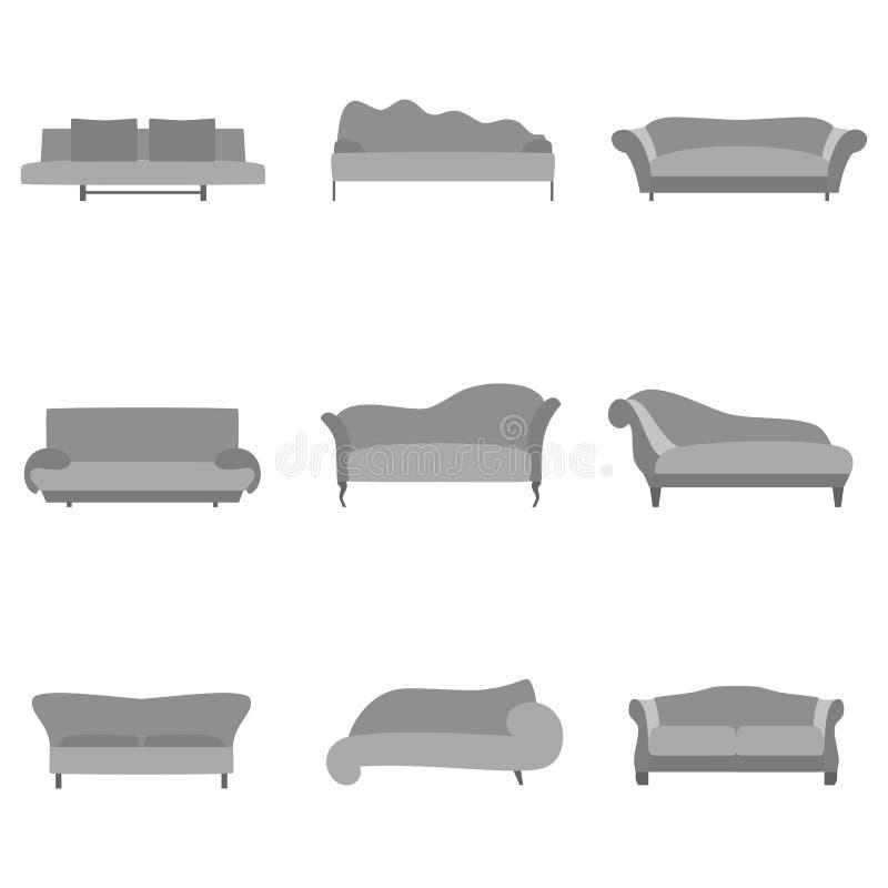 Colección de la historieta del sofá en estilo plano Sofá gris fijado en la vista delantera para el diseño interior aislado en el  ilustración del vector