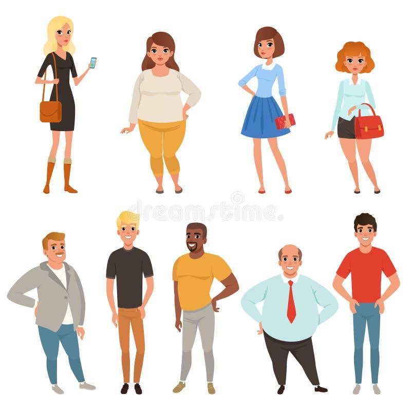 Colección de la historieta de gente joven y adulta en diversas actitudes Caracteres de los hombres y de las mujeres que llevan la ilustración del vector