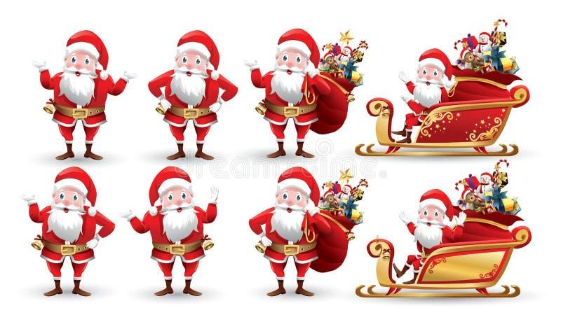 Colección de la historieta de la Navidad Santa Claus y de reno Fije de personajes de dibujos animados divertidos con diversa emoc ilustración del vector