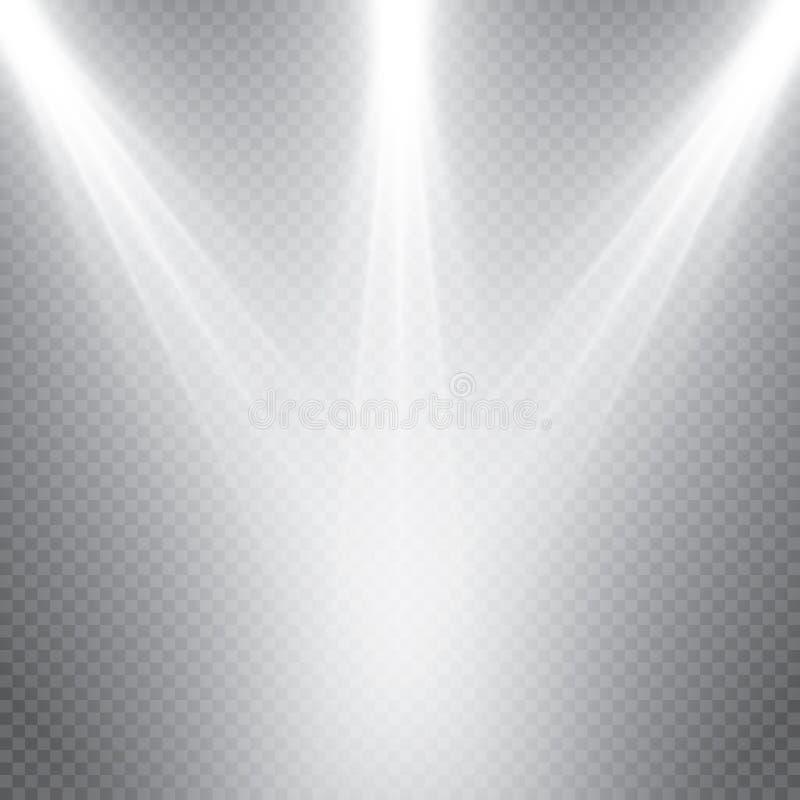 Colección de la iluminación de la escena, efectos transparentes Iluminación brillante con los proyectores stock de ilustración