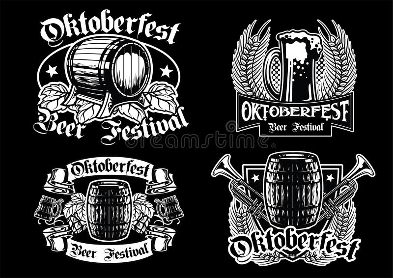 Colección de la insignia de Oktoberfest en blanco y negro stock de ilustración