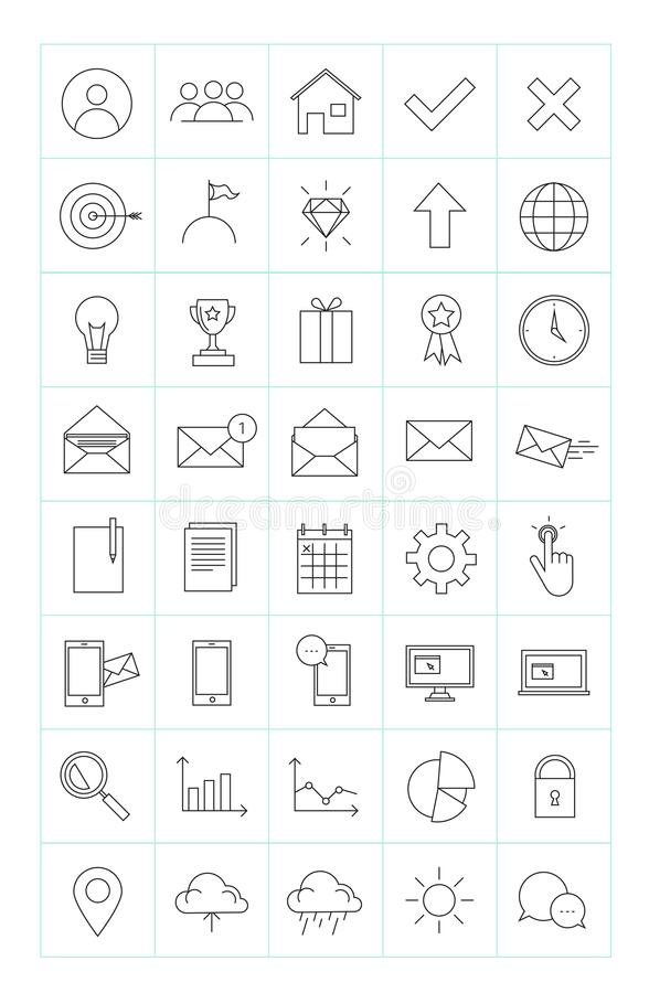 Colección 40 de la línea fina iconos del negocio para el sitio web o el infogra ilustración del vector