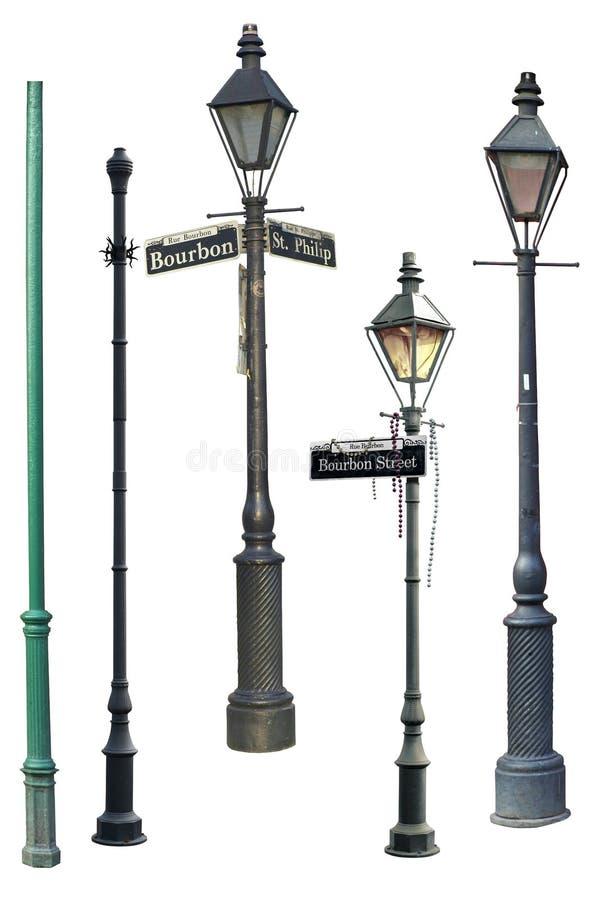 Colección de la luz de calle de New Orleans stock de ilustración