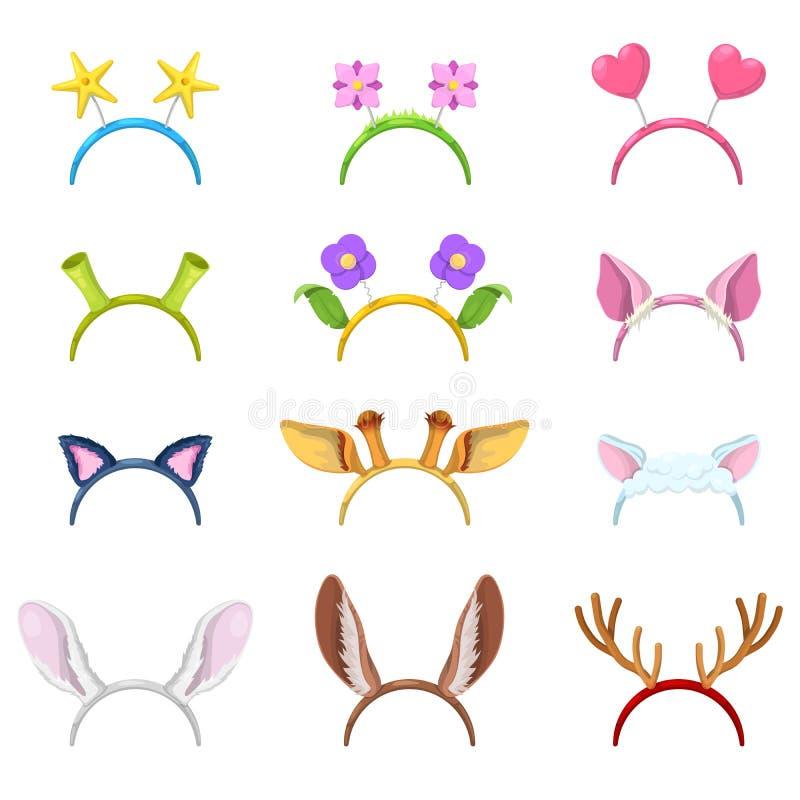 Colección de la máscara de los animales con los oídos aislados stock de ilustración