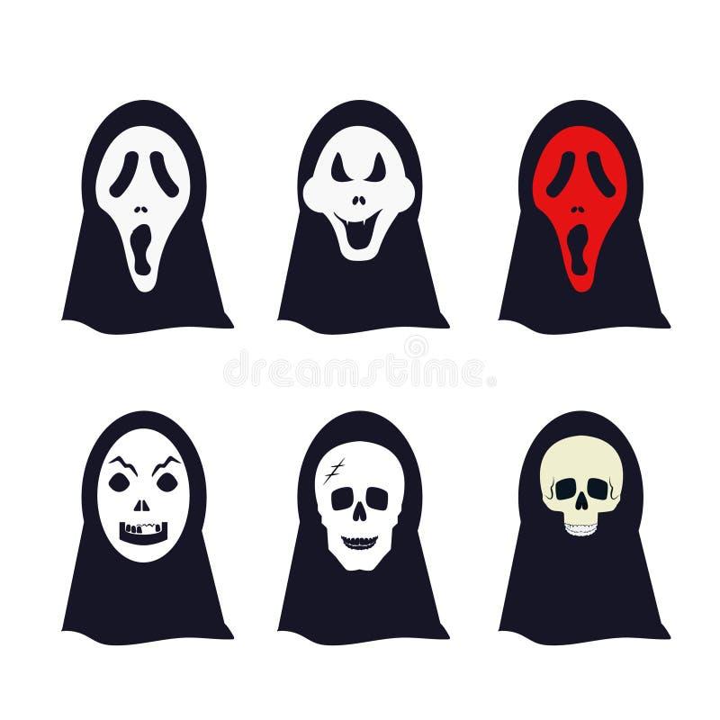 Colección de la máscara del cráneo del apoyo de Halloween del horror del fantasma stock de ilustración