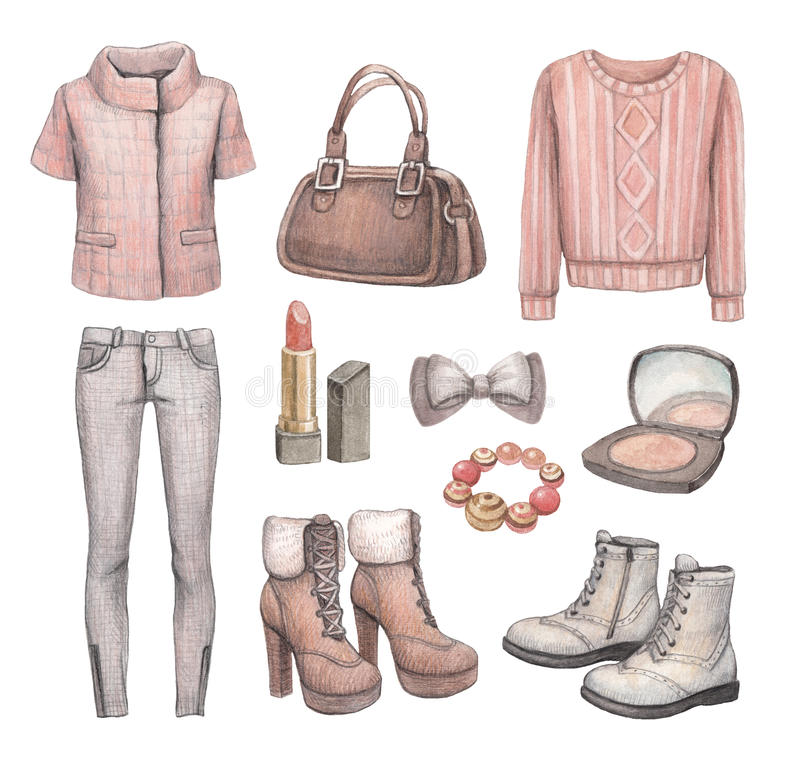 Colección de la moda. Ejemplos de la acuarela ilustración del vector