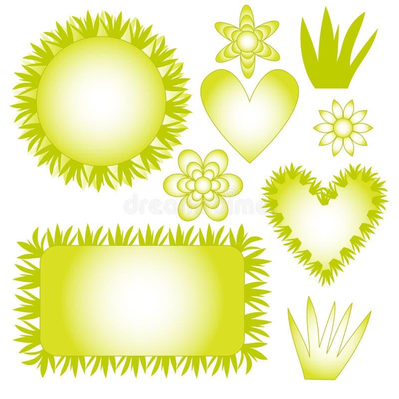 Colección de la naturaleza con la hierba, las flores y los corazones stock de ilustración