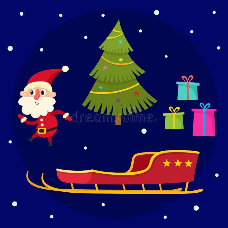 Colección de la Navidad de historieta Santa Claus, árbol de navidad, regalos, trineo stock de ilustración