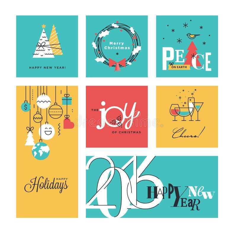 Colección de la Navidad y del Año Nuevo stock de ilustración