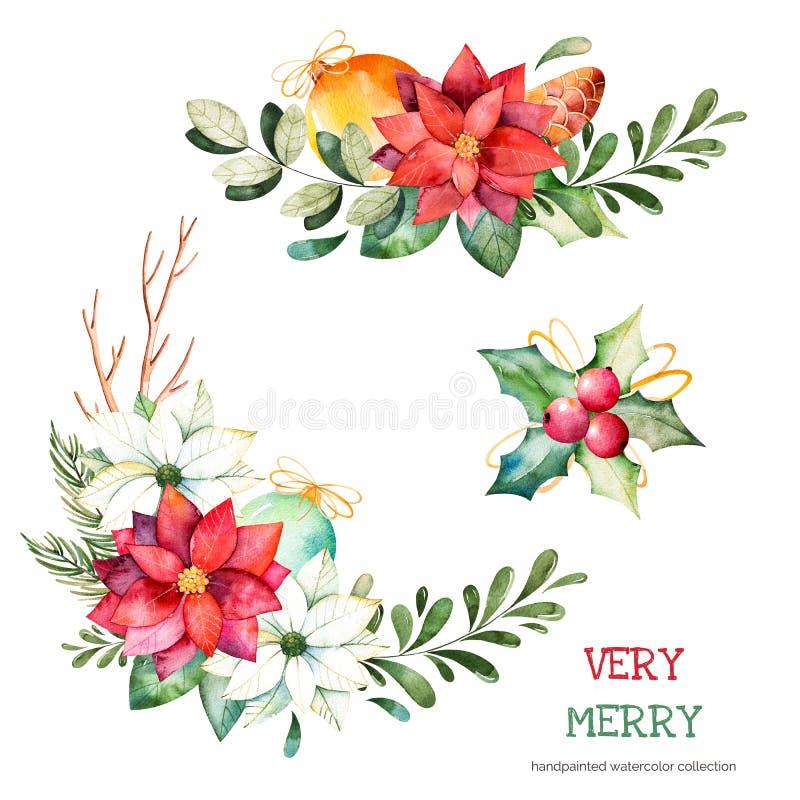Colección de la Navidad y del Año Nuevo ilustración del vector