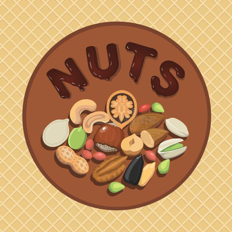 Colección de la nuez con la mezcla cruda de la comida y el ejemplo redondo de la etiqueta ilustración del vector