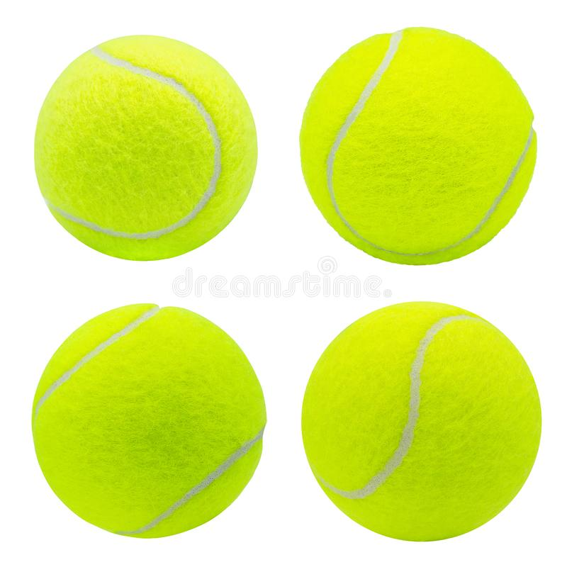 Colección de la pelota de tenis aislada en el fondo blanco con la trayectoria de recortes fotografía de archivo libre de regalías