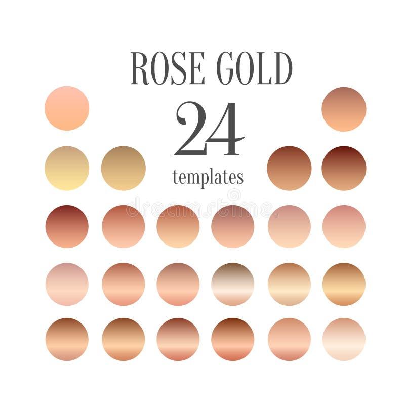 Colección de la pendiente del oro de Rose para el diseño de la moda, ejemplo ilustración del vector