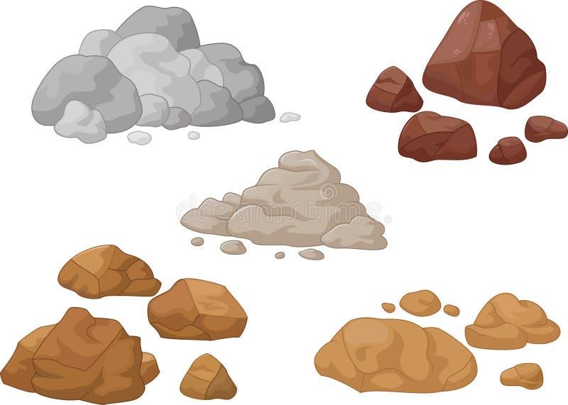 Colección de la piedra y de la roca stock de ilustración