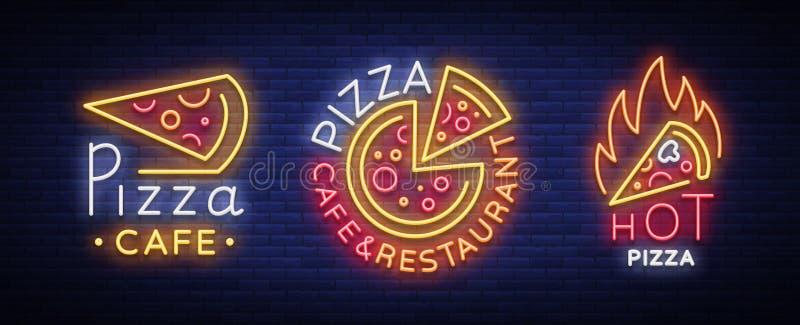 Colección de la pizza de vector de las señales de neón Fije los logotipos de neón ilustración del vector