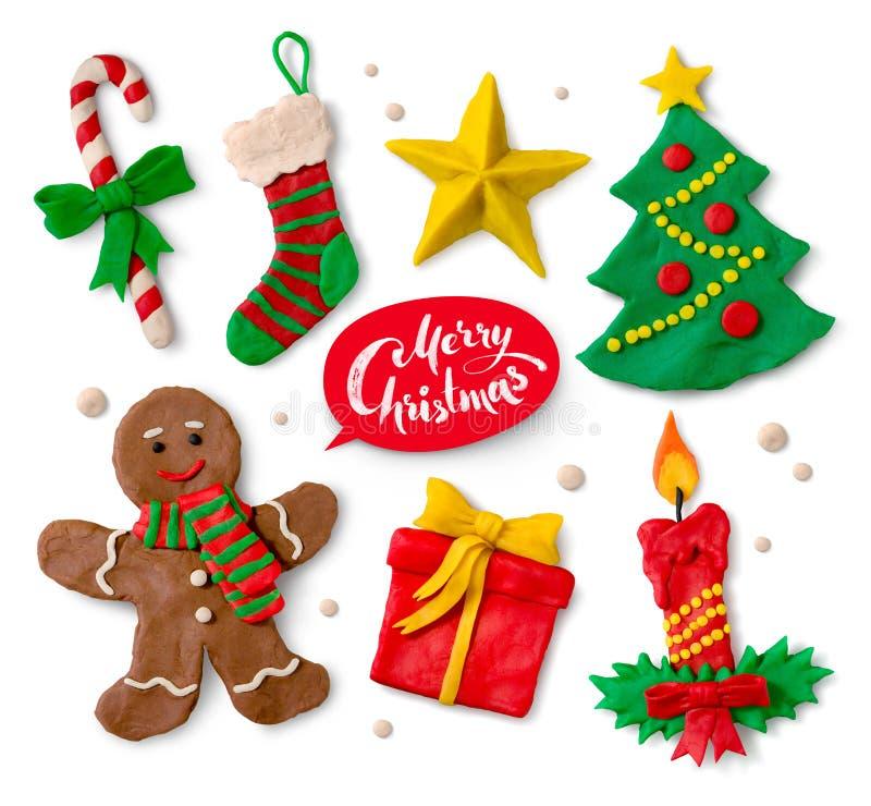 Colección de la plastilina de símbolos de la Navidad stock de ilustración