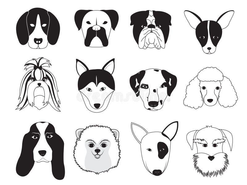 Colección de la raza de los perros ilustración del vector