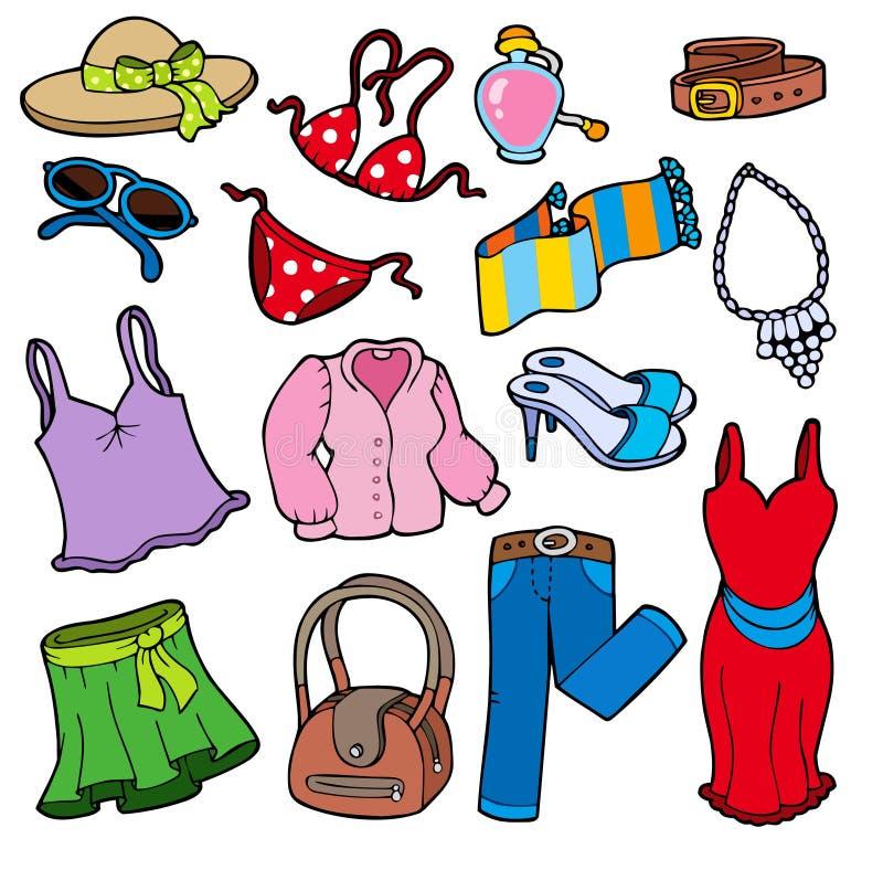 Colección de la ropa de la mujer stock de ilustración