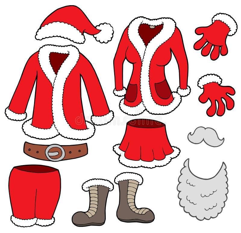 Colección de la ropa de las cláusulas de Santa libre illustration