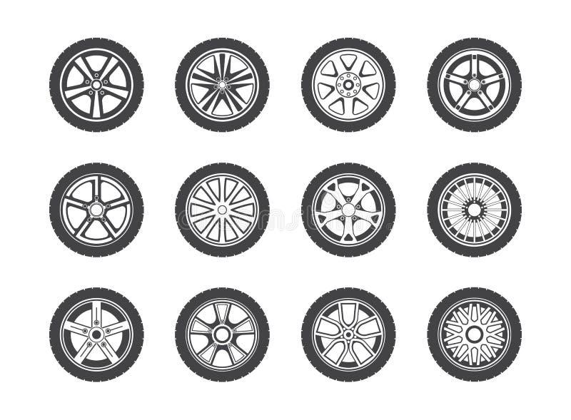 Colección de la rueda, del neumático y del neumático de iconos ilustración del vector
