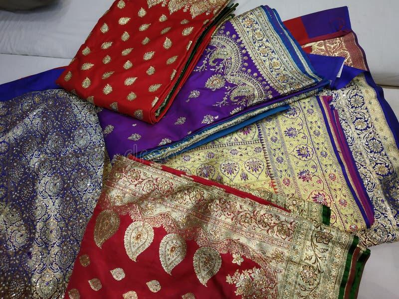Colección de la sari del paitani del matrimonio foto de archivo libre de regalías